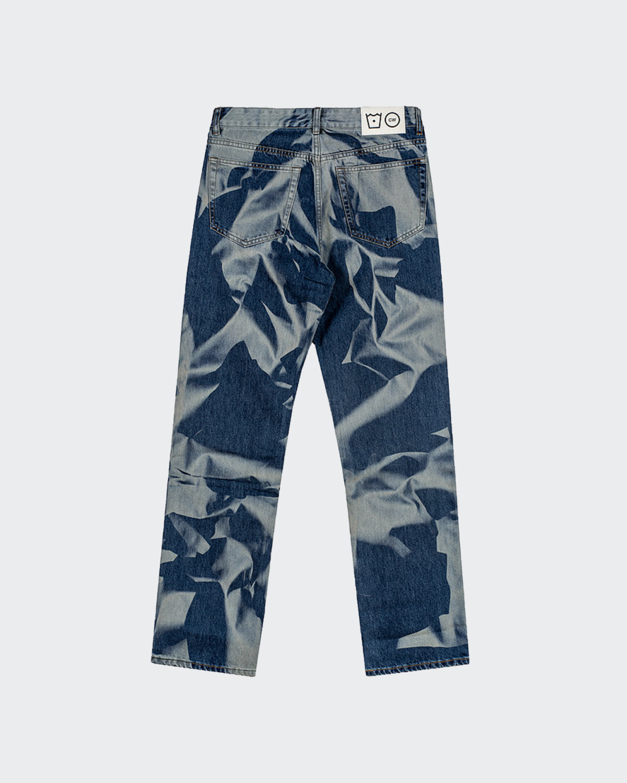 Cold Wash Crumpled Lasered Jeans